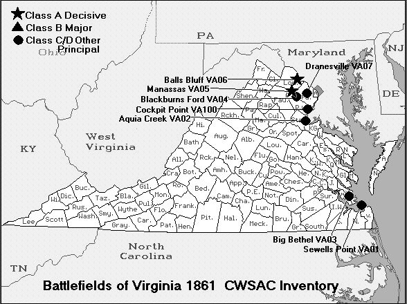 Battle Map of Virginia 1861